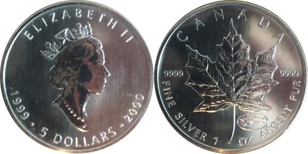 5 Dollars Elizabeth Ii 3rd Portrait 1 Oz Silver