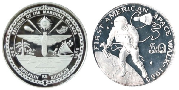 N601    NASA  SPACE  COIN 50th ANNIVERSARY OF 1st AMERICAN in SPACE MEDAL