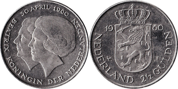 "1-2 1//2 gulden 1980 /""New Queen/"" UNC Netherlands set of 2 coins"