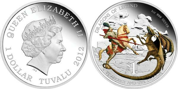 $1 Red Welsh Dragon Dragons of Legend 1 oz Silver Proof 2012 Tuvalu Sold Out
