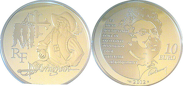 3 Musketeers 10 Euro Silver Proof Coin D/'Artagnan 2012 France