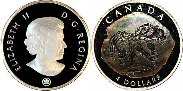 2008 Canada Pure Silver $4 Triceratops Dinosaur Coin