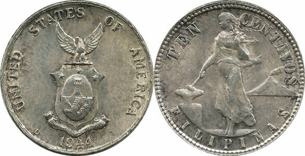 10 Centavos Us Administration Philippines Numista