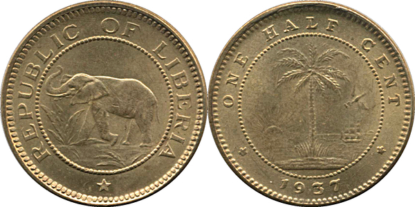 1941 Republic of Liberia One Half Cent 1//2 Elephant Palm Tree BU Coin