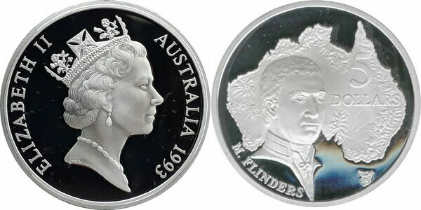 1993 $5 SILVER Proof Coin out Masterpieces Set Matthew Flinders Explorer