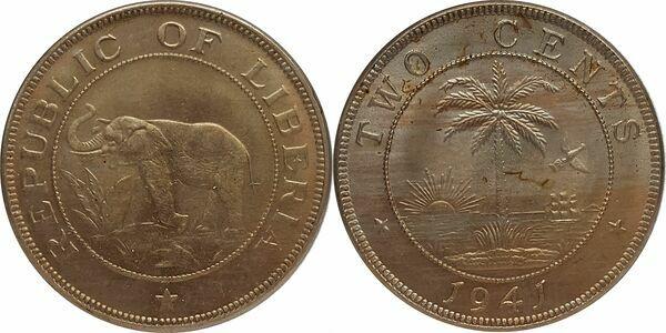 1941 Republic of Liberia 2 Cents Elephant Palm Tree BU Coin