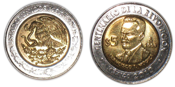 Francisco Mugica MEXICO COMMEMORATIVE BIMETALLIC COIN 5 Pesos KM905 UNC 2008