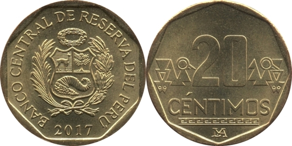 10 /& 20 CENTIMOS 3 DIFFERENT COINS from PERU 5 ALL DATING 2014