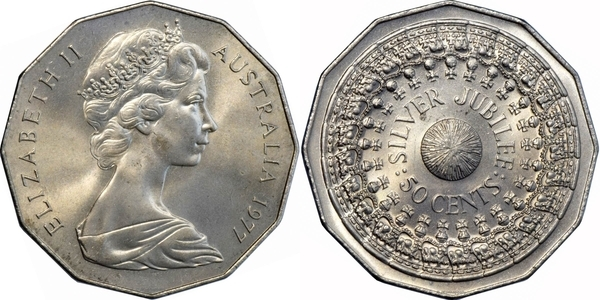Royal Australian Mint 1977 50c Cent RAM Commemorative Silver Jubilee Coin QE11
