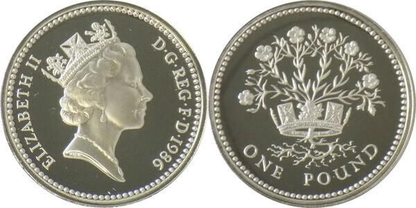 GREAT BRITAIN 1986 N IRELAND FLAX PLANT 1 POUND STERLING PROOF IN ORIGINAL BOX