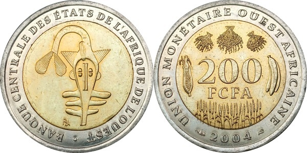 WEST AFRICAN STATES 200 FRANCS UNC COIN 2005 YEAR BIMETAL