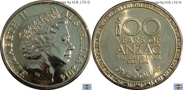 2014-100 Years ANZAC 1$ One Dollar UNC AUSTRALIA