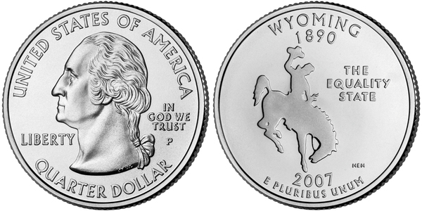 United States 1//4 Dollar Wyoming 2007 P Horse Quarter 25 cents UNC