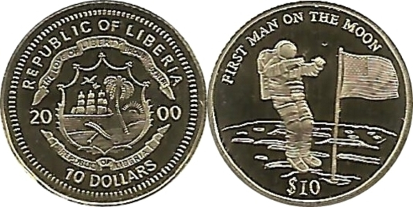 """2000 Liberia SILVER COIN $10 /""""First Man on the Moon Proof WITH CERTIFICATION"""
