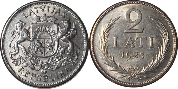835° 1926 Latvia  Lettonia  2  LATS  LATI  silver OLD coin  Ag 10 GRAMM  VF