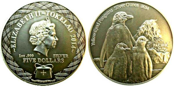 PENGUIN SILVER OUNCE 2014 $5 Tokelau antique finish 1 Oz Silver coin coloured