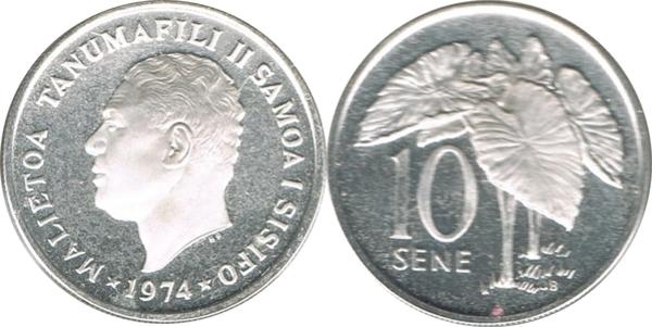 Coins of All Nations Western Samoa 1 Sene 1974 UNC