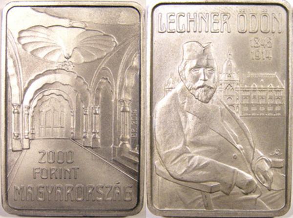 Hungary 2000 forint 2014 Ganz Abraham Inventor Train Car Wheel Square Coin PP
