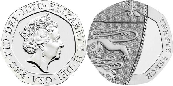 20 Pence - Elizabeth II (5th portrait; Royal Shield) - United Kingdom – Numista
