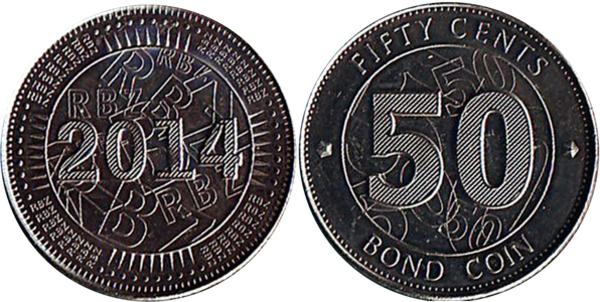 ZIMBABWE SET 5 COINS 1 5 10 25 50 CENT 2014 BOND COIN UNC