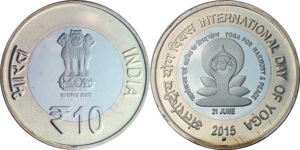 "India 10 rupees 2015 /""International Day of Yoga/"" BiMetallic UNC"