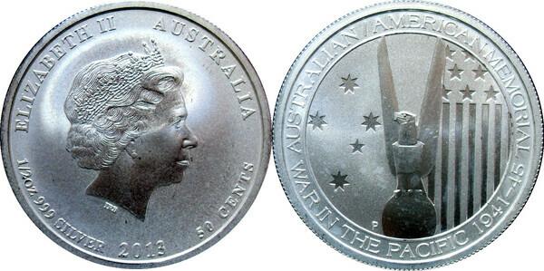 50 Cents Elizabeth Ii Australian American Wwii Memorial