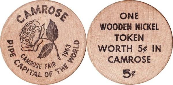Wooden Nickel Camrose Alberta Tokens Numista