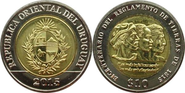 URUGUAY 10 PESOS 2000 BI-METALLIC COIN UNC