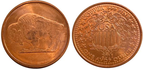 2011 USA Copper Bullion Buffalo Medallion 1 avdp oz 999 fine