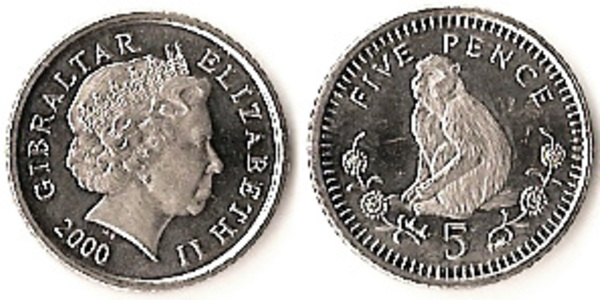 Gibraltar 2000 1 /& 2 /& 5  Pence 3 Uncirculated Coin Set