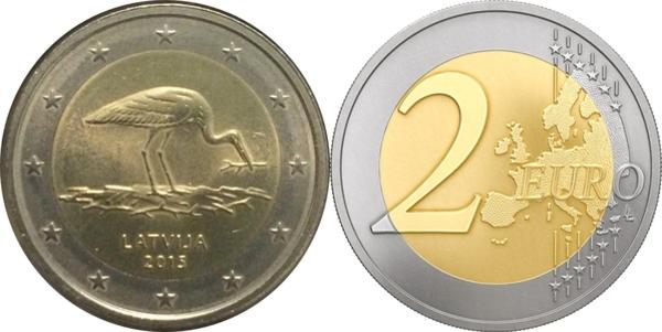 "Latvia 2 euro 2015 /""Stork/"" BiMetallic UNC"