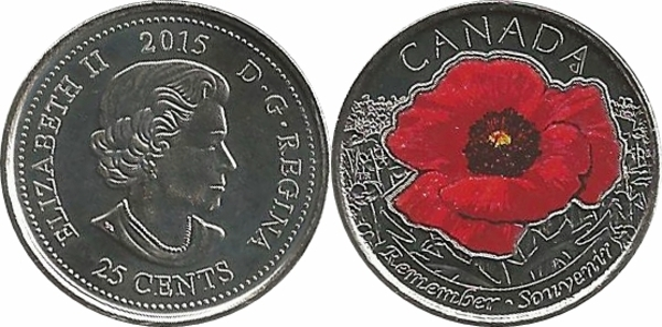 UNC 2015 Canada POPPY Quarter Coin Set Colour and Non Colour