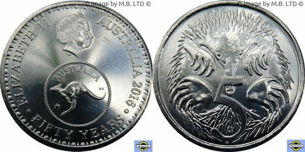 Australia 5 cents 2016 UNC Spiny Anteater Echidna 50 Years Changeover 50th Ann