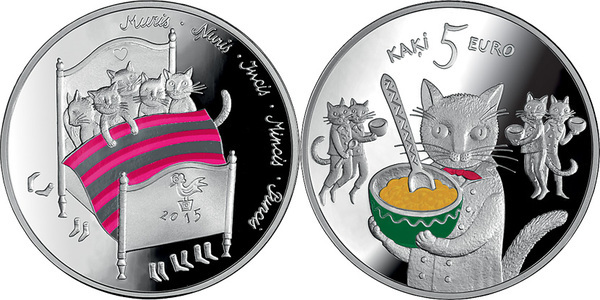 Bank of Latvia Five Cats Fairy Tale Silver Coin for your collection rare coin