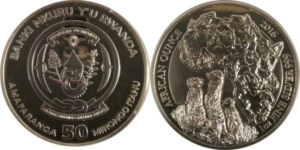 50 Francs African Wildlife Ounce Meerkat Rwanda 1 oz silver 2016 Proof only 1000
