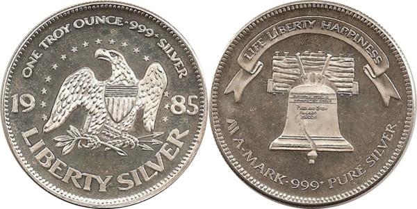 1 Oz Silver A Mark Liberty Bell Exonumia Numista