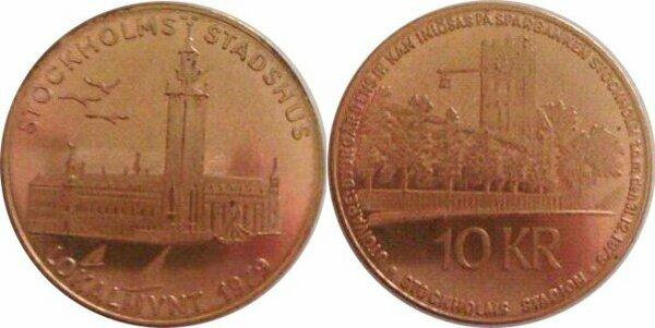 n510! LOW *UNC* COIN TOKEN 27mm 1979 SWEDEN 10 KRONOR SIMRISHAMN LOCAL MINT