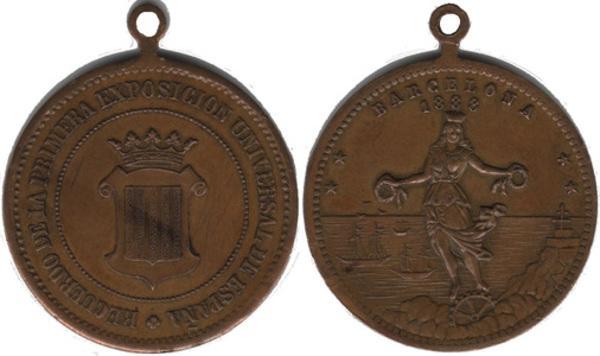 Exposicion Universal De Barcelona 1888 Antique Medallion