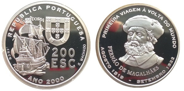 2000 PORTUGAL 200 Escudos Commemorative Ferdinand Magellan Round the World UNC