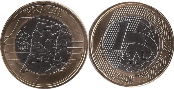Coin 16 PCS FULL SET UNC 1 Real Brazil 2016 RIO Olympic Games Comm BIMETAL