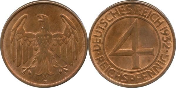 Afbeeldingsresultaat voor 4 pfennig 1932 numista