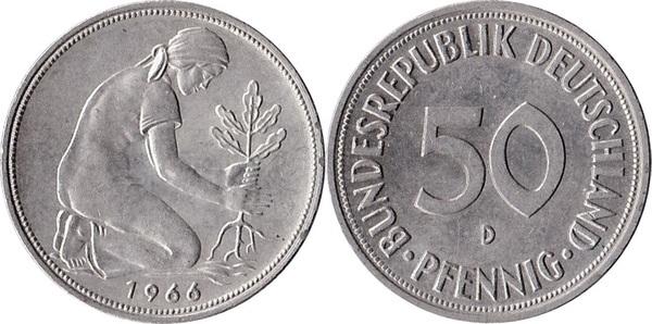 1950 G Germany Federal Republic 50 Pfennig KM# 109.1