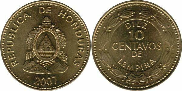 2 NICE COINS from HONDURAS BOTH DATING 2007 10 /& 50 CENTAVOS
