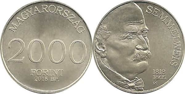 Hungary 2000 forint 2015 Kornel Szilvay Firefighting Fireman Square Coin PP
