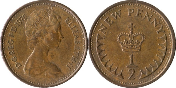 half  Penny 1971 UNC from original roll Great Britain