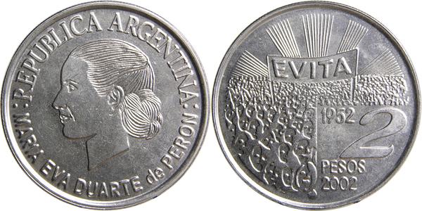 ND 2002 P-352 About Unc AU Argentina 2 Pesos x 2