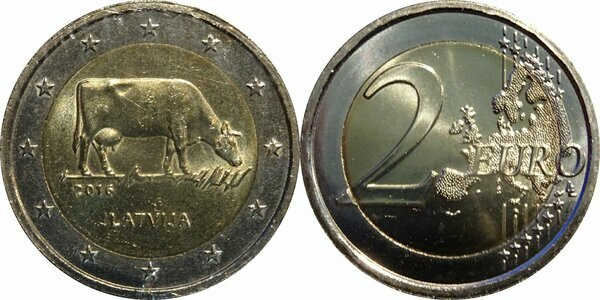 Latvian agricultural - COW Commemorative Coin *UNC LATVIA 2 EURO 2016