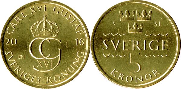 SWEDEN 3 COINS SET 1+2+5 Kronor 2016 KM NEW UNC UNC