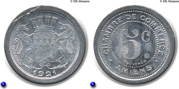 5 centimes amiens french cities numista for Chambre de commerce amiens