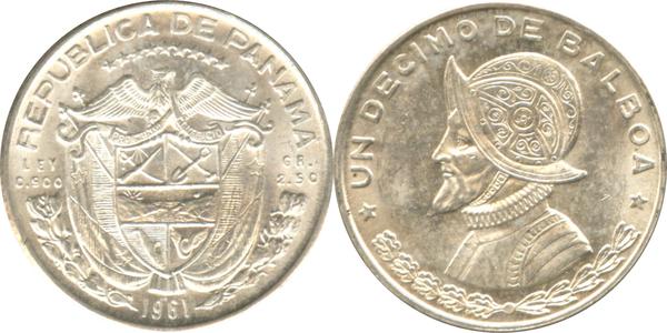 50 Coin Roll Lot Of 1961-1962 Panama Un Decimo De Balboa 1//10 oz Silver BU Coins